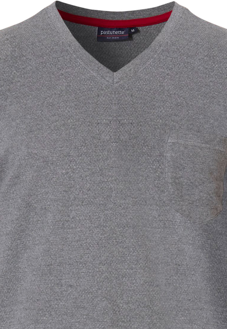 Pastunette for Men men's Mix & Match grey short sleeve, t-shirt style men's cotton 'v' neck lounge top with chest pocket - Mix it up with Pastunette for Men!