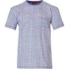 Pastunette for Men mens Mix & Match light blue short sleeve cotton top 'cool lines'