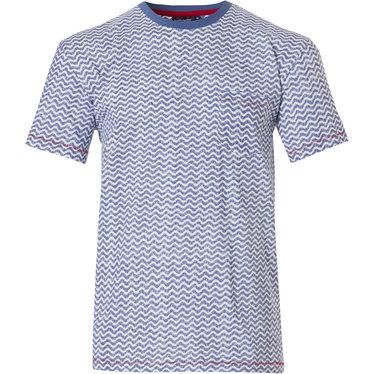 Pastunette for Men heren Mix & Match lounge-stijl lichtblauwe katoenen pyjama top 'cool lines' met korte mouwen, ronde hals en borstzakje