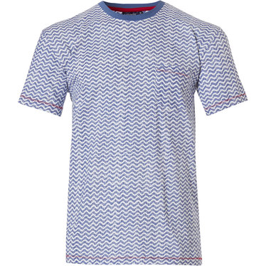 Pastunette for Men men's Mix & Match lounge-style short sleeve light blue cotton top with round neck and chest pocket 'cool lines'-pattern