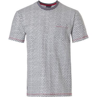 Pastunette for Men heren Mix & Match lounge-stijl lichtgrijze katoenen pyjama top 'cool lines' met korte mouwen, ronde hals en borstzakje
