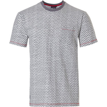 Pastunette for Men men's Mix & Match lounge-style short sleeve light grey cotton pyjama top with round neck and chest pocket 'cool lines'-pattern