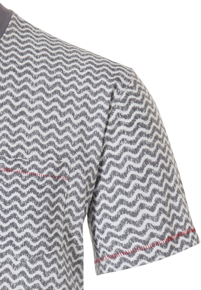 Pastunette for Men men's Mix & Match lounge-style short sleeve light grey cotton top with round neck and chest pocket 'cool lines'-pattern