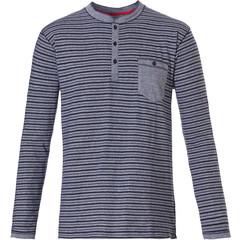 Pastunette for Men Mix & Match 'in the stripe' long sleeve mens cotton pyjama top with 3 buttons