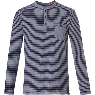 Pastunette for Men heren Mix & Match lounge-stijl, donkerblauwe, katoenen, strepen pyjama top met lange mouwen 'in the stripe' met 3 knoopjes aan de hals