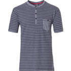 Pastunette for Men mens Mix & Match stripey short sleeve, cotton top with 3 buttons