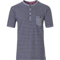 Pastunette for Men Mix & Match, katoenen, heren pyjama top met korte mouwen en 3 knoopjes