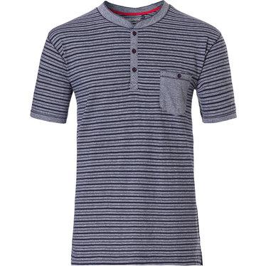 Pastunette for Men heren Mix & Match lounge-stijl, donkerblauwe, katoenen, strepen pyjama top met korte mouwen 'in the stripe' met 3 knoopjes aan de hals