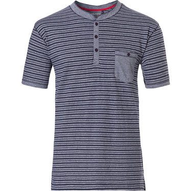 Pastunette for Men men's Mix & Match lounge-style stripey short sleeve navy blue cotton pyjama top with 3 buttons