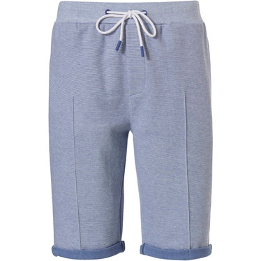 Pastunette for Men mens, Mix & Match lounge-style light blue shorts with turn-ups, pockets and elasticated tie-waist 'fine cool lines'