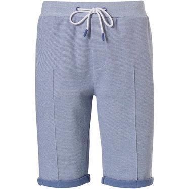 Pastunette for Men Mix & Match 'fine cool lines' blauwe lounge-stijl korte broek (met omgeslagen boordje) voor heren met zakken, elastische taille met taillekoord