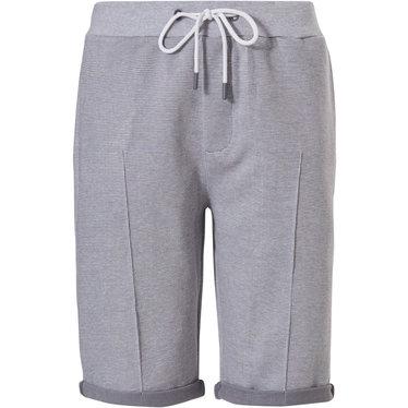 Pastunette for Men Mix & Match 'fine cool lines' grijze lounge-stijl korte broek (met omgeslagen boordje) voor heren met zakken, elastische taille met taillekoord