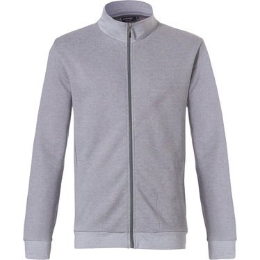Pastunette for Men mens, Mix & Match lounge-style light grey sweatshirt with cuffs and full zip 'fine cool lines'