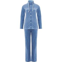 Pastunette blauw gestreept zacht katoen-velours huispak met knopen