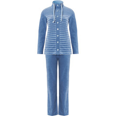 Pastunette blue velvet homesuit with buttons