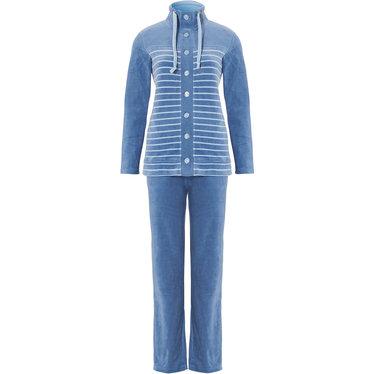 Pastunette blauw velours huispak met knopen