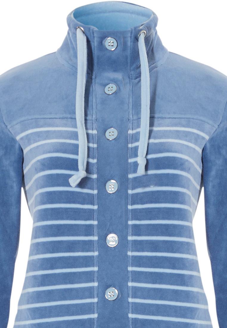 Pastunette blue soft cotton velvet striped homesuit with buttons