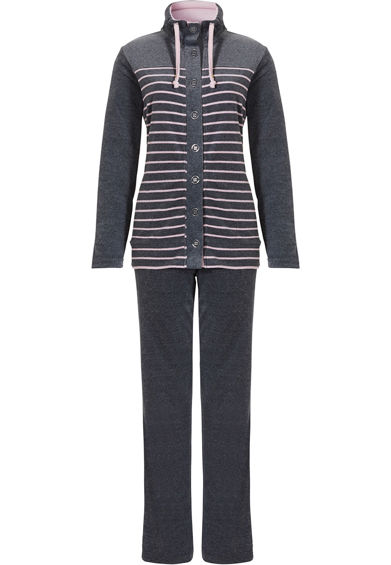 Pastunette grey & pink soft cotton velvet striped homesuit with buttons