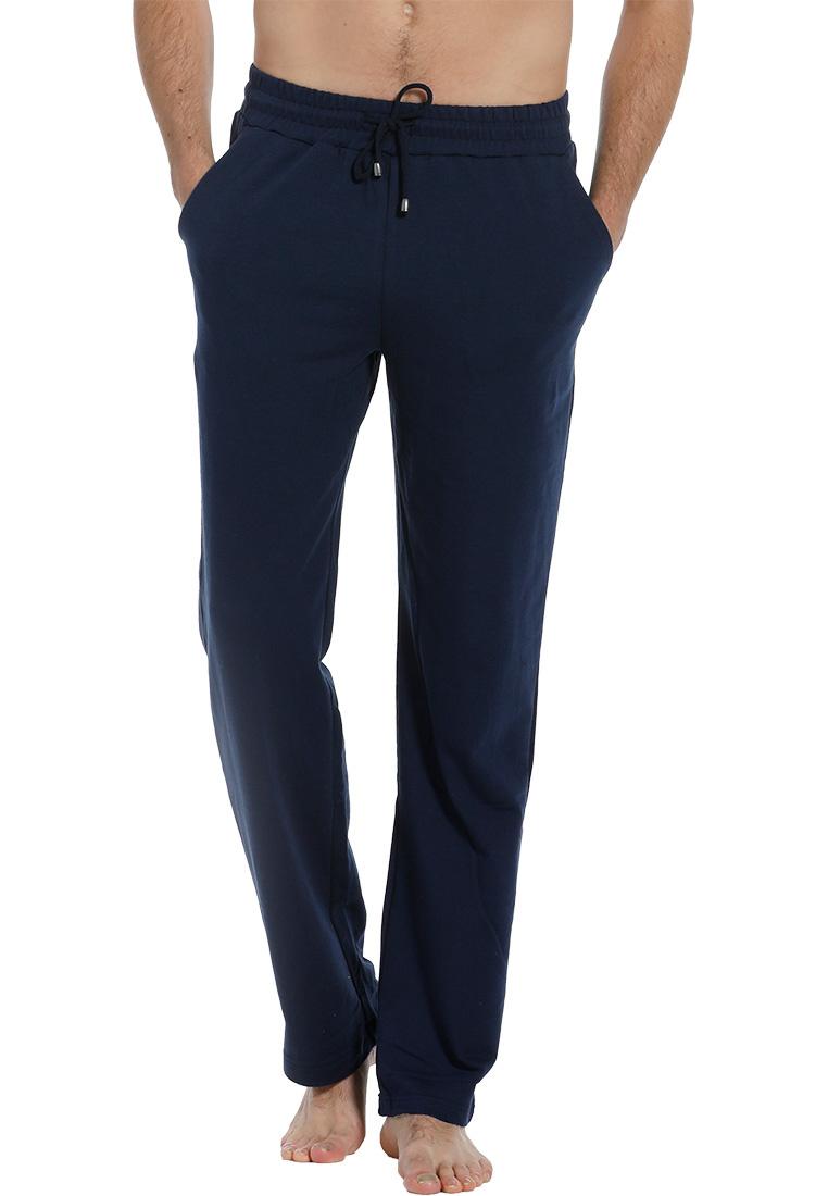 Pastunette for Men men's blue Mix & Match long cotton pyjama, lounge style pants with an elasticated tie-waist