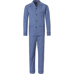 Robson men's long sleeve woven cotton full button pyjama 'square of little squares'