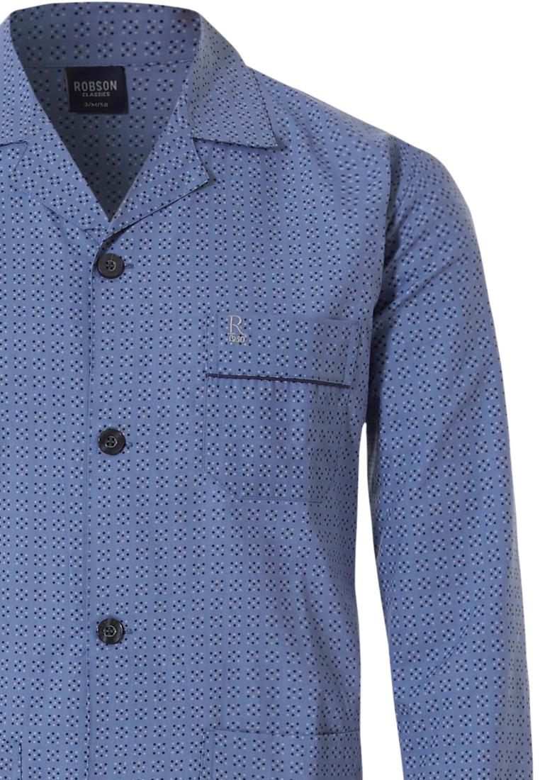 Robson geweven katoen, doorknoop heren pyjama 'square of little squares'