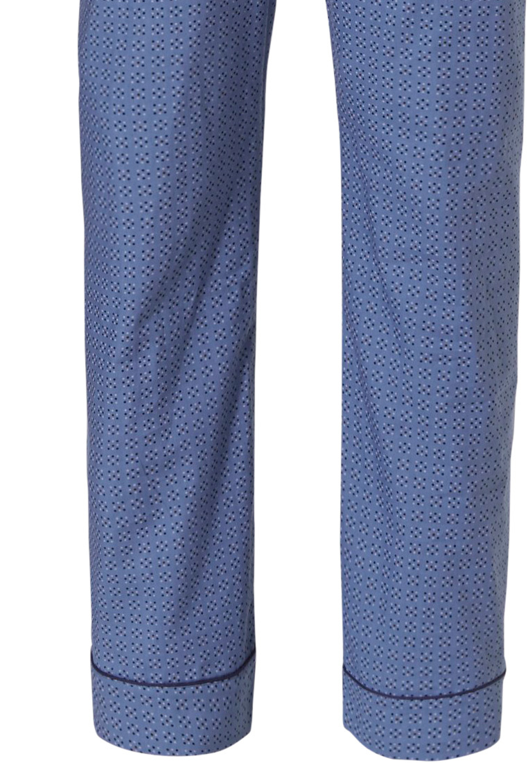 Robson 'square of little squares' mens fresh mid blue long sleeve woven cotton, full button Summer pyjama with matching long patterned pants with an elasticated waist and pockets