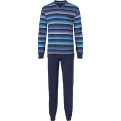 Robson men's long  sleeve cotton pyjama set with cuffs 'stripes in lines'