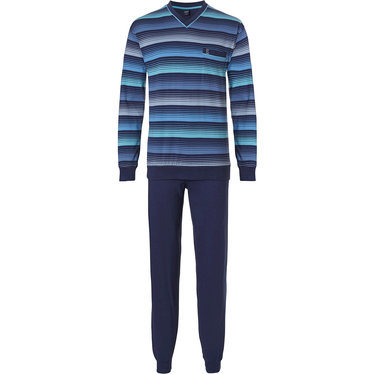 Robson 'stripes in lines' fresh blue & light blue cotton mens pyjama light blue long sleeve cotton pyjama set with stripes, chest pocket  and long dark blue cotton pants with cuffs