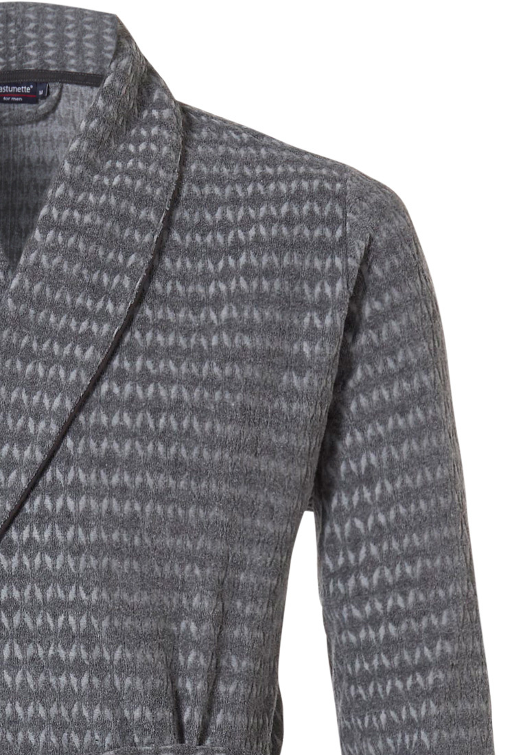 Pastunette for Men 'star point' dark grey mens jacquard terry wrap-over morning gown with shawlcollar, belt and two front pockets