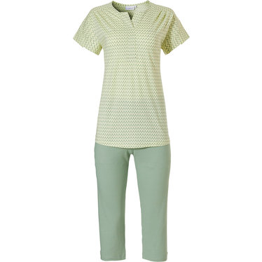 Pastunette 'pretty fine fine zig zag lines' short sleeve light Summer yellow & green cotton modal ladies pyjama set with v neck and 3/4 light green pants