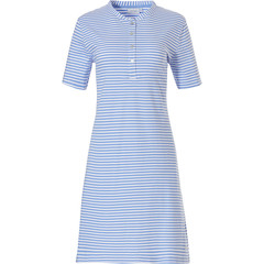 Pastunette short sleeve organic cotton stripey nightdress with buttons 'pretty fine stripes'