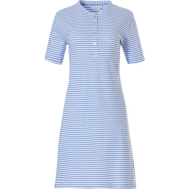 Pastunette  'pretty fine stripes' short sleeve pastel blue and white organic cotton summer nightdress with 4 buttons