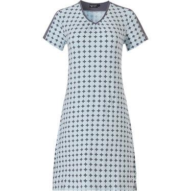 Pastunette Deluxe dames homewear-nachthemd met korte mouwen 'symmetrical elegant diamonds & 60's circles'