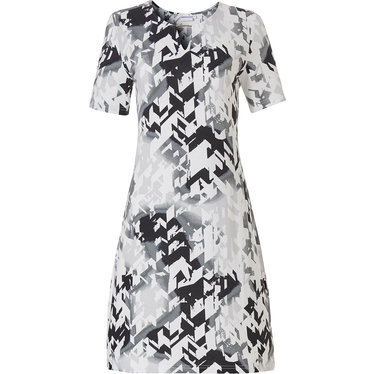 Pastunette Beach 'razzle dazzle' white & black short sleeve beach dress with a modern all over pattern