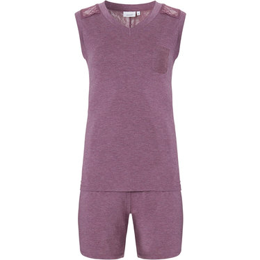 Pastunette 'lace detail' soft purple ladies sleeveless shortama with chest pocket and pretty lace detaling  on 'v' shape back panel