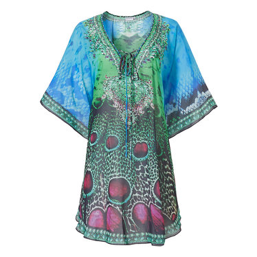 Pastunette Beach 'peacock lagoon passion' aqua green & sea blue beach kaftan with front tie and short sleeve