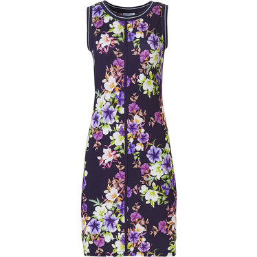 Pastunette Beach 'forever floral' dark blue sleeveless beach dress with purple, pink, lavender and white coloured  flowers arranged all over in a beautiful pattern