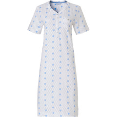 Pastunette ladies short sleeve organic cotton nightdress with buttons 'pretty fine dots & circles'