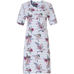 Pastunette short sleeve cotton nightdress with buttons 'pretty garden flowers & stripes'