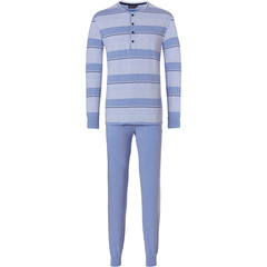 Pastunette for Men long sleeve mens pyjama set with buttons 'stripes & fine horizontal lines'
