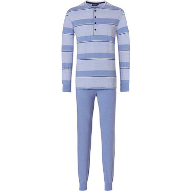 Pastunette for Men 'stripes & fine horizonatal lines' long sleeve light blue & steel blue mens pyjama set with 4 buttons and long steel blue cuffed pants with an elasticated waist