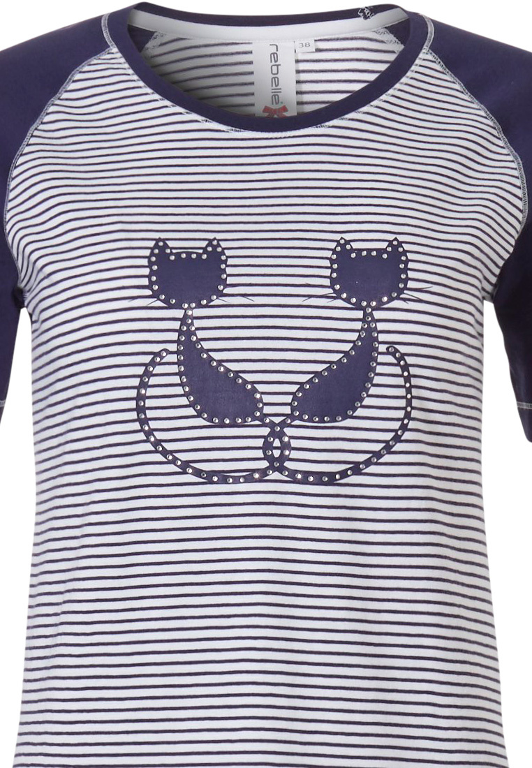 Rebelle  'Purrrfectly in love pussycats' short sleeve cotton pyjama with 3/4 pants