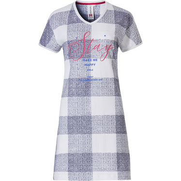 Rebelle 'Stay' short sleeve trendy 'chunky check' pastel checked cotton nightdress