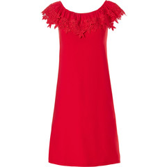 Pastunette Beach sleeveless off-shoulder red beach dress with 'floral lace'