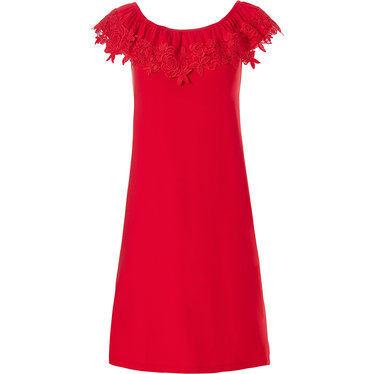 Pastunette Beach 'floral lace' pure red sleeveless off the shoulder ladies beach dress with floral lace volant edge