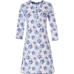 Pastunette ladies 3/4 sleeve cotton nightdress with 4 buttons 'little blue blossom'