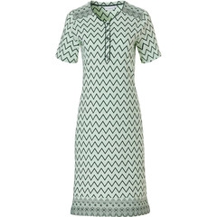 Pastunette short sleeve green cotton nightdress with buttons 'soft & pure patterned lines'