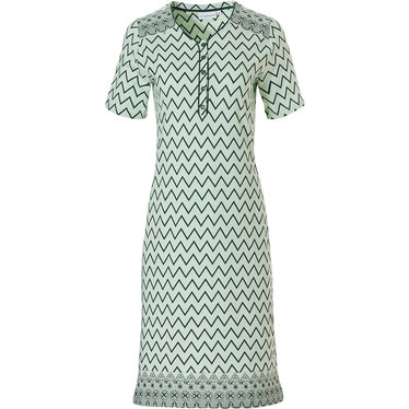Pastunette 'soft & pure zig zag lines', ladies light green short sleeve cotton nightdress with 5 buttons