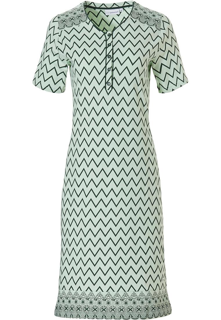 Pastunette groen, katoenen, nachthemd met korte mouwen en knoopjes 'soft & pure patterned lines'