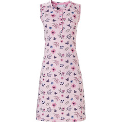 Pastunette ladies, sleeveless, organic cotton nightdress 'butterfly flowers' with 5 buttons